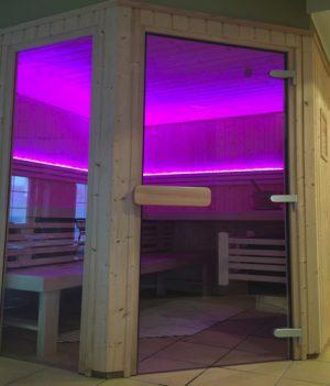 led verlichting in een sauna