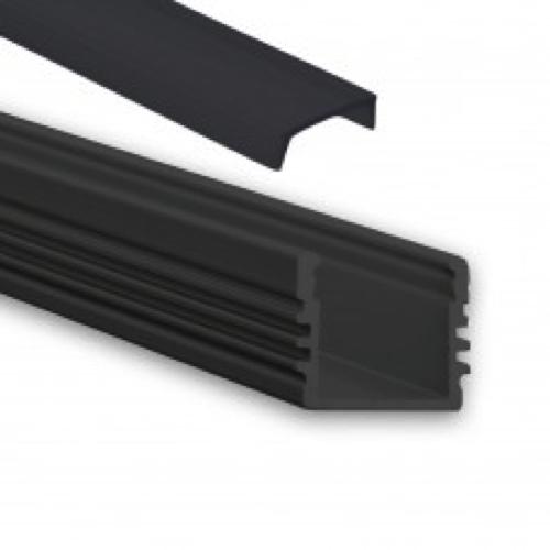 zwart led profiel zwarte afdekking opbouw