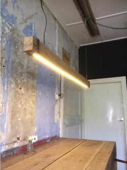 led profiel hanglamp eikenhout