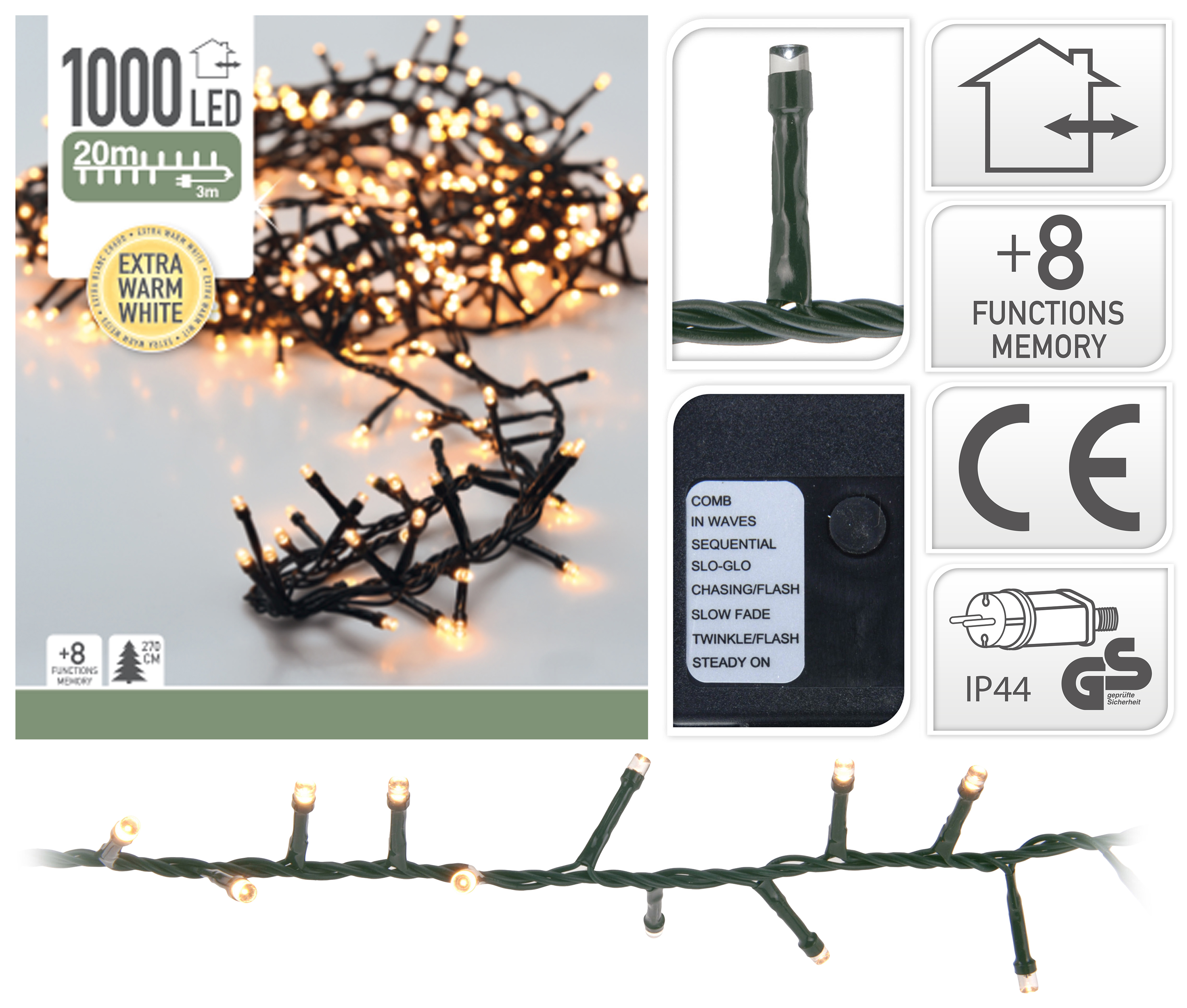 Cluster Kerstverlichting - extra warm wit - 20 meter – 1000 LED ...
