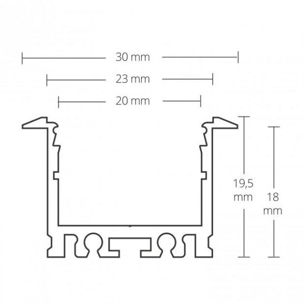 3cm breed inbouw led profiel