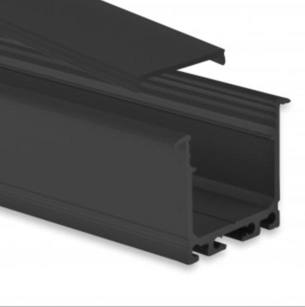 zwart led inbouw profiel met zwarte afdekking
